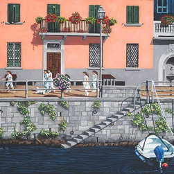 """Italy Oil Paintings - Original oil painting on linen board, """" Afternoon at Torno"""". Size is 20"""" X 16"""". This painting captures the sense of a time warp you feel when you travel along Lake Como as children look like they did back in the 40's as they leave their church's school to go and play along the lakeside. The strong pinkish church school building presents a strong image with soft tones of gray throughout."""