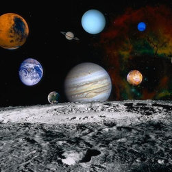 Wallmonkeys Wall Decals - Planets of the Solar System Wall Mural - 18 Inches W x 14 Inches H - Easy to apply - simply peel and stick!