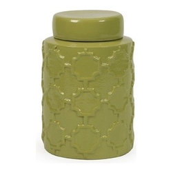 "IMAX - Essentials Green Apple Small Canister - With it's bright color and embossed quatrefoil pattern, this small lidded ceramic canister is both a fun and functional part of the Green Apple collection from Essentials by Connie Post. Item Dimensions: (7.5""h x 5.5""w x 5.5"")"