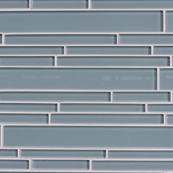 Rocky Point Tile - Jasper Blue Random Strip Glass Mosaic Tiles - Imagine facing the ocean and gazing into a beautiful serene sea on an overcast day. The beautiful colors of these mosaic strip tiles bring this calming experience to your own bath with tranquil cool gray blues. Install as a tub or shower surround and let your cares wash away at the end of a long day.
