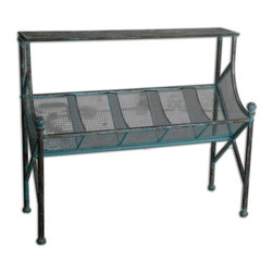 Uttermost - Uttermost Generosa Iron Bookshelf Table 24348 - Clever organization built in turquoise crackle, forged iron with oxidized black undertones.