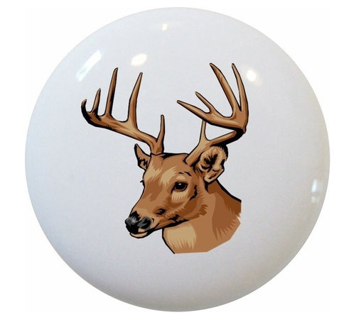 Carolina Hardware and Decor, LLC - Deer Buck Ceramic Cabinet Drawer Knob - New 1 1/2 inch ceramic cabinet, drawer, or furniture knob with mounting hardware included. Also works great in a bathroom or on bi-fold closet doors (may require longer screws).  Item can be wiped clean with a soft damp cloth.  Great addition and nice finishing touch to any room.