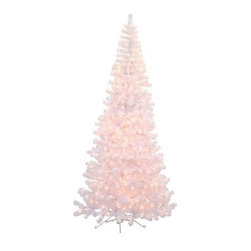 7.5 ft. White Corner Pre-Lit Christmas Tree - The 7.5 ft. White Corner Pre-Lit Christmas Tree is a perfect way to create your own winter wonderland. This tree offers a stunning visual with white branches that add a crisp look to your decor. Its corner design saves space in smaller rooms. Festive clear mini-lights add a warm glow to any holiday setting.Don't Forget to Fluff!Simply start at the top and work in a spiral motion down the tree. For best results, you'll want to start from the inside and work out, making sure to touch every branch, positioning them up and down in a variety of ways, checking for any open spaces as you go.As you work your way down, the spiral motion will ensure that you won't have any gaps. And by touching every branch you'll create the desired full, natural look.About VickermanThis product is proudly made by Vickerman, a leader in high quality holiday decor. Founded in 1940, the Vickerman Company has established itself as an innovative company dedicated to exceeding the expectations of their customers. With a wide variety of remarkably realistic looking foliage, greenery and beautiful trees, Vickerman is a name you can trust for helping you create beloved holiday memories year after year.
