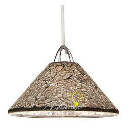 Micha Quick Connect Pendant Light - Hand crafted from hundreds of individual pieces of crushed glass, the Shine Collection glimmers with light in individually unique patterns and textures. Whether a sparkling, star lit sky, a warm summers sun or the frost of an early winters morning the Micha family of shades brings the comforting warmth of nature into your home.