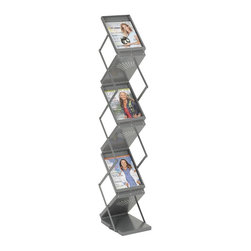 Safco - Double Sided Folding Literature Display in Gray - Includes heavy-duty carrying case. Six pockets. Easily folds upto 7.5 in. high. Scratch-resistant. Powder coated finish. GREENGUARD Certified. Made from heavy-gauge steel. Compartment: 9.25 in. W x 1 in. D x 11.75 in. H. Overall: 10 in. W x 13.25 in. D x 56 in. H (16.8 lbs.). Assembly InstructionReady-Set-Go displays your literature, pamphlets, brochures and magazines! Whether it's for your guests in the reception area, waiting room, conference room, meeting areas, trade show booth, the lobby, foyer or entrance way or for your internal employees at a print station, lounge area, lunch or break room, mail room, supply room, classroom, media center, library or even your office, every piece of literature and magazine will have a perfect place to be displayed.