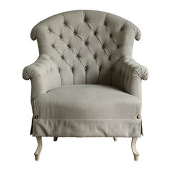 Kathy Kuo Home - Amelie Rose French Country Tufted Curved Back Bergere Arm Chair - Let yourself be enveloped by the shape of the tufted curved back and arms of this incredibly comfortable chair. Come for the shape, stay to delight in the details of brass button accents and beech wood legs. Classic beauty is yours when you add this piece to any space in your home.
