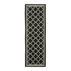 """Safavieh - Modern Poolside Black/Beige Indoor/Outdoor Rug (2'4"""" x 6'7"""") - Create a comfortable outdoor living space with this poolside outdoor runner rug. Crafted from durable polypropylene so it's resistant to water,mildew,sun,and other elements,this beautiful rug features a black background with a beige trellis design."""