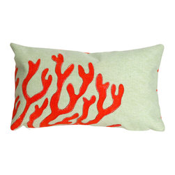 """Trans-Ocean Inc - Coral Red 12"""" x 20"""" Indoor Outdoor Pillow - The highly detailed painterly effect is achieved by Liora Mannes patented Lamontage process which combines hand crafted art with cutting edge technology. These pillows are made with 100% polyester microfiber for an extra soft hand, and a 100% Polyester Insert. Liora Manne's pillows are suitable for Indoors or Outdoors, are antimicrobial, have a removable cover with a zipper closure for easy-care, and are handwashable.; Material: 100% Polyester; Primary Color: Red;  Secondary color: seafoam; Pattern: Coral; Dimensions: 20 inches length x 12 inches width; Construction: Hand Made; Care Instructions: Hand wash with mild detergent. Air dry flat. Do not use a hard bristle brush."""