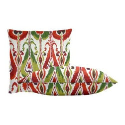 "Cushion Source - Ikat Bands Fuchsia Throw Pillow Set - The Ikat Bands Fuchsia Throw Pillow Set consists of 18"" x 18"" cotton throw pillows with a globally-inspired ikat pattern in raspberry, red-orange, chartreuse, artichoke, and dark violet."