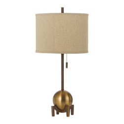 Horizons - Horizons Gravity Transitional Table Lamp X-LT-1528 - From the Gravity Collection, this AF Lighting table lamp features beautiful retro styling and Art Deco influencing. The spherical body sits on a footed base and comes with a straight stem. This transitional table lamp has been finished in Satin Brass and features a dark poly linen hard back diffuser.