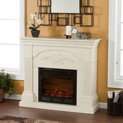 "Holly and Martin - Salerno Electric Fireplace Cabinet Mantel Package in Ivory - 37-213-023-6-18 - With columns and scrolls, the Salerno 44 inch Electric Fireplace Cabinet Mantel Package in Ivory is a contemporary wall or cabinet fireplace capable of holding a 42"" flat screen TV. It features a large firebox, ample safety controls, and a realistic log set that exerts very little energy to create a big impact. A special LED array creates a flickering effect that works with or without the heating features being on."