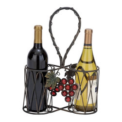Woodland Imports - Woodland Imports Infinity Loop 2 Bottle Wine Holder Multicolor - 63339 - Shop for Wine Bottle Holders and Racks from Hayneedle.com! Grab your loved one and head into the country with the Woodland Imports Infinity Loop 2 Bottle Wine Holder. This charming country basket is crafted of sturdy iron alloy adorned with bright red grape clusters delicate green leaves and finished in weathered black. This country-style wine caddy carries two bottles.