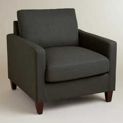 World Market - Charcoal Abbott Chair - Our exclusive Charcoal Abbott Chair is the ultimate in comfort and versatility. Boasting a deep seat, this chair offers plenty of room to kick back and relax. Its deep charcoal upholstery and flawless silhouette make it a chic addition to your living room that you'll love falling into for years to come.