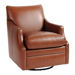 Ballard Designs - Larkin Leather Swivel Glider - Mortise-and-tenon joints. Cross-banding for strength & stability. Deep, down-proof seat cushion. This incredibly comfortable swivel glider slips into spaces where a traditional armchair can't go. Hardwood frame is crafted in the USA and expertly upholstered in luxurious top-grain leather finished for an ultra soft touch and rich color. Larkin Swivel Glider features: . . .