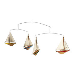 Authentic Models - A-Cup Yacht Hanging Mobile - Made of Wood, Cotton, and Wire. 36.6 in. W x 1.4 in. D x 12.6 in. HFinally! 1930s A-Cup yachts racing in the air. Four colored J-Yacht miniatures made of solid wood and cotton sails... Ever so graceful, even at this size the miniatures are authentic and correct in their details.