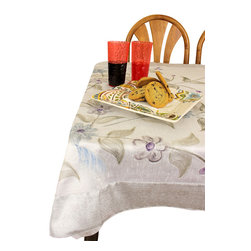 Banarsi Designs - Hand Painted Deluxe Square Tablecloth - A perfect pairing for that striking painting in your dining room, this alluring tablecloth features lovely hand-painted flowers as its subject. Now, whether you're looking up from your plate or looking down at it, you'll always have something beautiful in your line of sight.