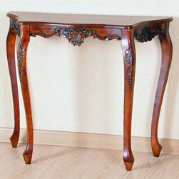 International Caravan - Victorian Style Wall Table w Scalloped Hand C - In Stain finish. Made of hand carved hardwood. Can be used as a wall table, desk or a room accent piece. Assembly required. 20.5 in. between front legs. 30 in. L x 14 in. W x 35 in. H
