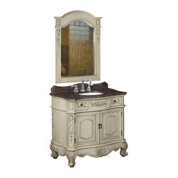 Belle Foret - Belle Foret 80062R Single Basin Vanity in Antique Parchment Finish - Belle Foret 80062R Single Basin Vanity in Antique Parchment FinishDistinctively elegant faucets, sinks, bath furniture, and lighting graced by the rich patina of time, without the wait or expense. Discover the Belle Foret Collection - a voyage well worth taking.This vanity has the look of authentic antique furniture yet it's available at a great price. Featuring two functional drawers and double doors that hide a spacious storage compartment. The white undermount porcelain basin is included as well.Please see our Delivery Notes for Freight Shipments for products that are oversized and/or are too heavy to ship UPS ground.Belle Foret 80062R Single Basin Vanity in Antique Parchment Finish, Features:• Single Basin Vanity