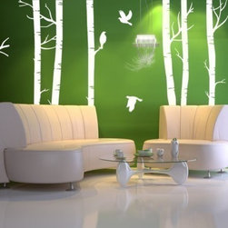 Vinyl Wall Decal Forest with BirdsHome Decor Murals by WowWall - No matter how urban your surroundings are, you can always bring the forest to your living room with these full scale birch tree wall decals.