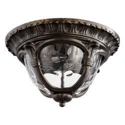 Joshua Marshal - Two Light Clear Hammered Glass Oiled Bronze Oiled Bronze Outdoor Flush - Two Light Clear Hammered Glass Oiled Bronze Oiled Bronze Outdoor Flush