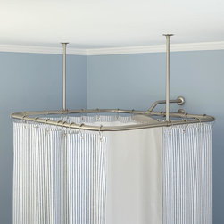 Square Ceiling Mount Shower Curtain Rod - The perfect accent to any square shower tray, this shower curtain rod offers both beauty and function.  Protect your floor and walls from water while having ample space for showering.