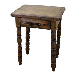 Mesquite Wood End Table with Drawer - This Mesquite Wood End Table is part of our newest lines of Rustic Furniture Home Decor. Rough lines, 100% solid mesquite wood construction with matching pieces No veneers are used. Hand forged iron handles and iron nail head accents. Hand turned mesquite wood legs with one drawer and hand made iron drawer pull. The perfect accent to any Southwest or Colonial decor design style. See ordering information below.