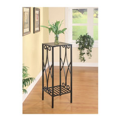 "Coaster - ""Coaster Plant Stand, Gunmetal"" - ""Slate inlaid metal scroll plant stand in a gunmetal finish.Dimensions (W x L x H): 12.00"""" x 12.00"""" x 34.00""""Finish/Color: GunmetalAssembly Required: NoMade in China"""