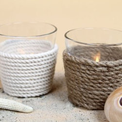 Glass Tea Light Candle Holder with Rope (In White or Brown), Modern Home Decor - Line them up at night to create a romantic walkway, or arrange them in tealight holders as a unique centerpiece to complement your dining experience.