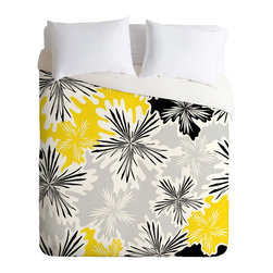 DENY Designs - DENY Designs Karen Harris Bumble Bee Whisper Duvet Cover - Lightweight - Turn your basic, boring down comforter into the super stylish focal point of your bedroom. Our Lightweight Duvet is made from an ultra soft, lightweight woven polyester, ivory-colored top with a 100% polyester, ivory-colored bottom. They include a hidden zipper with interior corner ties to secure your comforter. It is comfy, fade-resistant, machine washable and custom printed for each and every customer. If you're looking for a heavier duvet option, be sure to check out our Luxe Duvets!