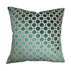 """The Pillow Collection - Kostya Geometric Pillow Turquoise 18"""" x 18"""" - This decor pillow lends comfort and luxury to your interiors with its opulent design. This square pillow features a unique geometric pattern in shades of turquoise and white. Reinvent your living room or bedroom by adding a few of these sophisticated decor piece. Mix and match with pillows made of silk and other plush materials for a rich decor style. Made of durable and soft velvet material. Hidden zipper closure for easy cover removal.  Knife edge finish on all four sides.  Reversible pillow with the same fabric on the back side.  Spot cleaning suggested."""