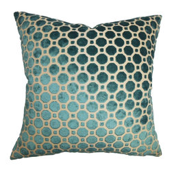 The Pillow Collection - Kostya Geometric Pillow Turquoise - This decor pillow lends comfort and luxury to your interiors with its opulent design. This square pillow features a unique geometric pattern in shades of turquoise and white. Reinvent your living room or bedroom by adding a few of these sophisticated decor piece. Mix and match with pillows made of silk and other plush materials for a rich decor style. Made of durable and soft velvet material. Hidden zipper closure for easy cover removal.  Knife edge finish on all four sides.  Reversible pillow with the same fabric on the back side.  Spot cleaning suggested.