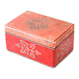 """MarktSq - Wooden Hand Crafted Jewelry Box in Orange and Red - This hand painted jewelry box features an intricate painted pattern around the box. Unlike our other boxes the lid on this one is not hinged. This lovely box is an ideal gift for any occasion or use it to organize your dresser top. Approximate dimensions: L 7"""" x W 4.75"""" x H 3.6"""""""
