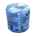 Moe's Home Collection - Denim Patch Ottoman Round Blue - Round Ottoman handmade with vintage denim Cotton fabric and recycled leather labels