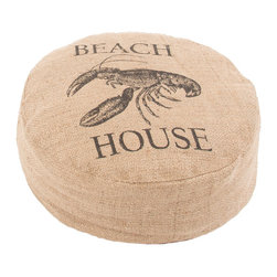 "Jaipur Rugs - Taupe/Black Handmade 100% Jute Pouf (18""x18""x6"") - Rustique pillows and poufs are burlap printed with coastal accents."
