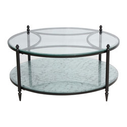 Marco Polo Imports - Mirabel Round Mirrored Coffee Table - Based on 17th and 18th Century statement pieces that recall the grandeur of the world's great hotel and fable mansions of a bygone era, this round mirrored coffee table is stately in dimensions and design. Hand finished in antique black, balancing the luxurious scale of the piece.