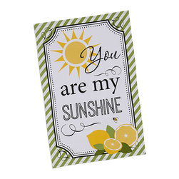 Design Imports - 'My Sunshine' Printed Dish Towel - Set of Two - Pepper the kitchen with a cheery touch of color by hanging this soft cotton dish towel within close reach of the sink for extra convenience and down-home charm.   Includes two dish towels 18'' W x 28'' H 100% cotton Machine wash; tumble dry Imported