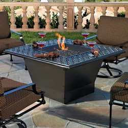 O.W. Lee Casual Fireside Ziggurat 48 in. Fire Pit Table - You don't have to explain the appeal of gathering around a roaring fireplace so adding the O.W. Lee Casual Fireside Ziggurat 48 in. Fire Pit Table to your patio or poolside should be just as cozy right? It might actually be more pleasant but we'll let you be the judge of that. First you'll need to pick your favorite finish for the wrought iron frame. When you've got a finish take advantage of the wide range of table top styles. You can choose from metal tile and slate and there's an equally impressive selection of materials to fill your fire-pit. Once you've fully customized your fire pit find the perfect spot outdoors and just wait for you family and friends to leave that indoor fireplace and join you outside. Runs on propane and/or natural gas conversion kit for natural gas is included. Materials and construction:Only the highest quality materials are used in the production of O.W. Lee Company's furniture. Carbon steel galvanized steel and 6061 alloy aluminum is meticulously chosen for superior strength as well as rust and corrosion resistance. All materials are individually measured and precision cut to ensure a smooth and accurate fit. Steel and aluminum pieces are bent into perfect shapes then hand-forged with a hammer and anvil a process unchanged since blacksmiths in the middle ages. For the optimum strength of each piece a full-circumference weld is applied wherever metal components intersect. This type of weld works to eliminate the possibility of moisture making its way into tube interiors or in a crevasse. The full-circumference weld guards against rust and corrosion. Finally all welds are ground and sanded to create a seamless transition from one component to another. Each frame is blasted with tiny steel particles to remove dirt and oil from the manufacturing process which is then followed by a 5-step wash and chemical treatment resulting in the best possible surface for the final finish. A hand-