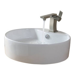 Kraus - Kraus White Round Ceramic Sink and Sonus Basin Faucet Brushed Nickel - *Add a touch of elegance to your bathroom with a ceramic sink combo from Kraus