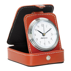 Maple's Clocks - Men's Travel Table Alarm Clock - Button battery included. Beep alarm. In synthetic leather case. Color/Finish: Brown. 3 in. W x 3 in. D x 4 in. H (0.3 lbs.)