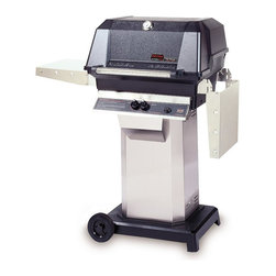 MHP Grills - 40000 BTU LP Gas Grill Head w Stainless Column & Cart Base - Includes 40000 BTU LP gas grill head, column and cart base. 40000 BTU LP gas grill head:. Total cooking area: 642 sq. in.. 40,000 BTU rated per-hour input. 0.31 in. 2-Piece stainless steel cooking grid. Stainless steel swing-away warming rack. High profile lid to handle all rotisserie functions, accommodating large cuts of meats and big Tom turkeys . Stainless steel fold down shelves. Column:. Includes stainless steel access door, stainless steel grease cup and conceals propane tank. 1-Piece 304 stainless steel column. Made of Stainless Steel. Cart base:. Includes 12 ft. hose with quick disconnect coupler. 2-Wheel portable base. Portable base with 6 in. rubber wheels. Black powder painted cast aluminum. Available in propane or natural gas cart base. Lifetime warranty on all grill housing, mounting, burners, cooking grids and warming racks. 5-Year warranty on infrared burners, venturi tubes and flavor master briquettes. 1-Year warranty on all other components. Assembly required