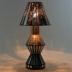 Mirrored Antiqued Glass Table Lamp - This antiqued mirrored glass lamp is perfect for your end table, hall table or nightstand. You won't find this unique lamp anywhere else. Free shipping.