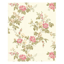 Graham and Brown - Cottage Garden Wallpaper - Beige/Pink - Cottage Garden wallpaper - beautiful climbing roses adorn this amazing floral wallpaper that will look fantastic on any wall.