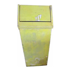 Yellow Trash Can - Vintage metal yellow trash can with removable lid.