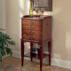 Butler - Plantation Cherry 4 Drawer Chest - Ideal for storing your dinnerware keepsakes, this silverware chest is beautiful and practical. Made of selected hardwoods and choice veneers, this chest boasts a lovely plantation cherry finish with a four-way matched cherry veneer end grain border. The bottom shelf allows you to display items, while the four felt-lined drawers with antique brass finished hardware leave you with ample storage space. Features: -Silver ware.-Made from selected hardwoods and choice veneers.-Four-way matched cherry veneer end grain border.-Four felt-lined drawers.-Lower display shelf.-Plantation finish.-Antique brass finished hardware.-This item has a distressed finish.-Collection: Plantation Cherry.-Distressed: Yes.Dimensions: -36'' H x 18'' W x 14'' D, 48 lbs.-Overall Product Weight: 48 lbs.