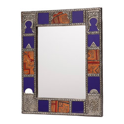 "16"" Moroccan Metalwork, Leather & Glass Mirror - This artisan-crafted mirror is framed in intricate metalwork with cobalt blue glass and leather accents."
