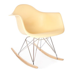Vertigo Interiors USA - High Quality Eames Style RAR Rocking Arm Lounge Chair, Cream - The Eames Style RAR rocking arm chair has the iconic Eames style eiffel base paired with treated beech wood runners.  Constructed of high quality polypropylene, the chair is durable, non-toxic and easy to clean.  This chair is exceptionally comfortable and is perfect for nurseries and dining rooms alike.