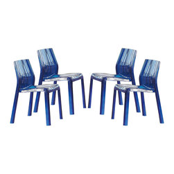 None - Denville Transparent Blue Plastic Dining Accent Chair (Set of 4) - A bold,electric blue,these Denville dining chairs feature a UV-protected finish and comfortable rounded edges. Perfect for indoor or outdoor use,these bright chairs fit easily as an accent chair for any home decor.