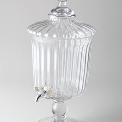 "Horchow - Summerton Beverage Dispenser - With its fluted design and shapely pedestal foot, this beverage server looks stunning as it keeps liquid refreshment at the ready for crowds large or small. Made of lead-free crystal. Hand wash. Holds 224 ounces; 10.25""Dia. x 20.5""T. Imported."
