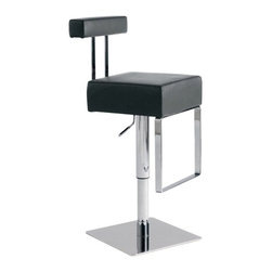 """Nuevo - Aria Adjustable Bar Stool in Black - Decorate your bar area with the ultra modern Bloc Adjustable Stool. This stool's base is constructed of plate steel with a stainless steel cover plate and chromed hydraulic cylinder. The hardwood seat frame is thickly padded with CFS foam and covered in top grain Italian leather. Features: -Aria Adjustable Bar Stool. -Black finish. -Plate steel, �"""", with Stainless steel cover plate. -Chromed hydraulic cylinder. -Hardwood seat frame, CFS foam. -Top grain Italian leather finish. -Overall Dimensions: 31 - 38.5"""" H x 14.5"""" W x 18.5"""" D."""