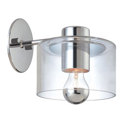 Sonneman 4801.01 Transparence Polished Chrome Wall Sconce - Sonneman 4801.01 Transparence Polished Chrome Contemporary Wall Sconce - Wattage: 60 W. - # of Bulbs: 1. - Socket Type: A19 Half Chrome Medium Base. - Installation Required: Yes. - Weight: 5lbs.